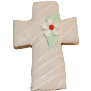 CROSS COOKIE WITH RED-CENTERED FLOWER