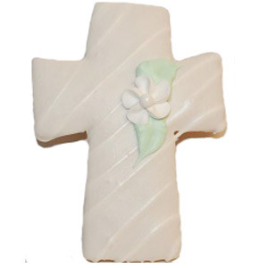CROSS COOKIE WITH WHITE-CENTERED FLOWER