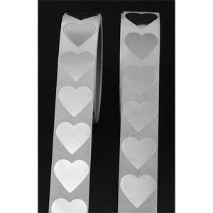 "1 PC 1"" SILVER FOIL HEART LABEL"