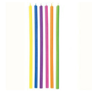 WILTON LONG MULTI-COLOURED CANDLES - pack of 12