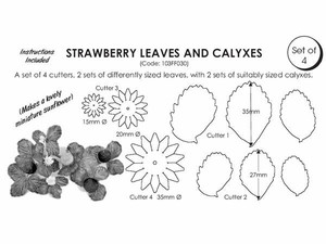 4 SET STRAWBERRY LEAVES AND CALYXES