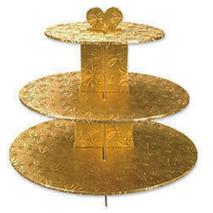 GOLD FOIL 3-TIER CUPCAKE STAND