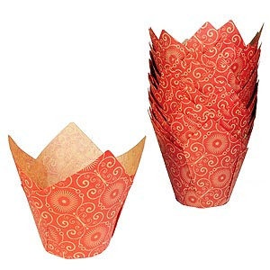 BAKING CUP TULIP MARIPOSA RED NATURAL STANDARD STD