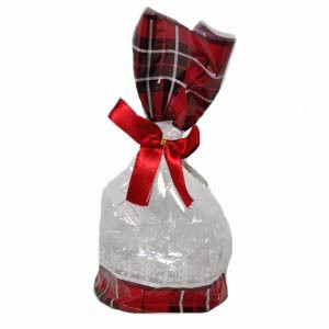 ROUND BAG WITH RED PLAID AND BOW
