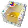 CAKE BOX WINDOW BOARD GOLD BIRTHDAY BALLOONS SCALLOP