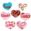"ROYAL ASSORTED HEARTS W/ SCRIPTS & SQUIGGLES -  1 1/4""  100 PIECES"
