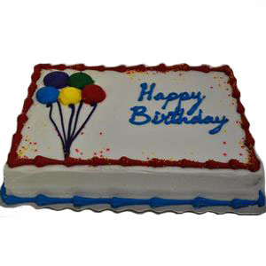 1/4 SLAB VANILLA BIRTHDAY CAKE WITH READY-ICE RED AND BLUE TRIM