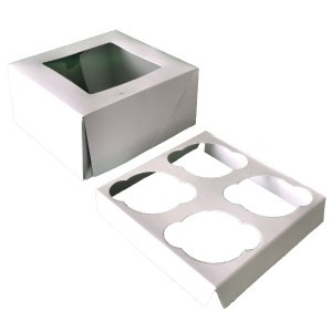 2 PC SET 4 PC CUPCAKE BOXES WITH INSERTS