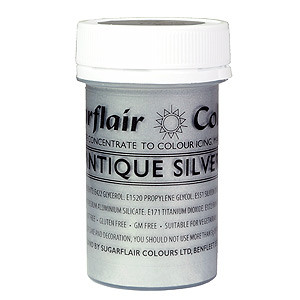 ANTIQUE SILVER PASTE ICING COLOR COLOUR SUGARFLAIR