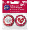 WILTON HEARTFELT VALENTINE MINI BAKING CUPS 100 PACK