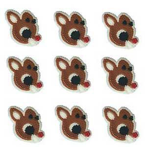 PACK OF 24 RUDOLPH ICING DECORATIONS BY WILTON