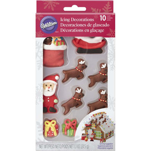 10 PIECE CHRISTMAS SCENE ICING DECORATIONS BY WILTON