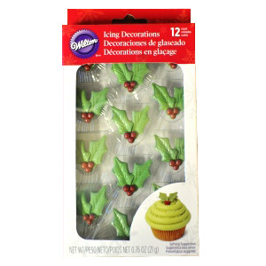 12 PKG ROYAL ICING HOLLY LEAF DECORATIONS BY WILTON