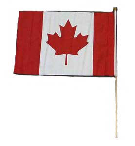 "1 PC 12"" X 18"" CANADIAN FLAG ON STICK"
