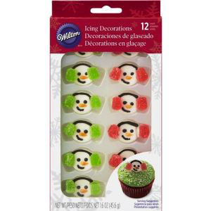 12 PKG ROYAL SNOWMAN WITH EARMUFFS ICING DECORATIONS BY WILTON