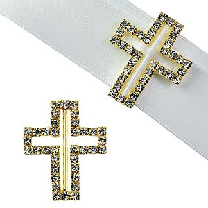 GOLD CROSS CRUCIFIX BLING RIBBON CONFIRMATION COMMUNION RELIGIOUS BAPTISM