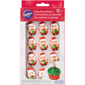 WILTON SANTA WITH PRESENT ICING DECORATIONS