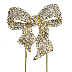 BLING PICK - GOLD BOW