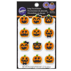 WILTON ROYAL ICING ASSORTED PUMPKIN FACES PACK OF 12