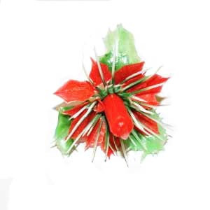 1 PC POINSETTIA WITH CANDLE
