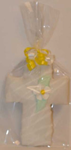 "5 1/4"" PACKAGED YELLOW FLOWER CENTRE CROSS COOKIE"